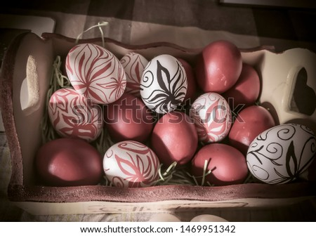 A box full of Easter eggs with hand drawn flowers (drawn by myself) #1469951342