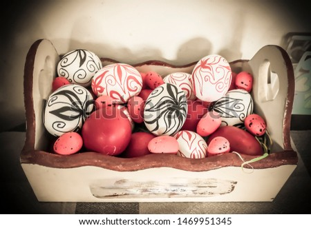 A box full of Easter eggs with hand drawn flowers (drawn by myself) #1469951345