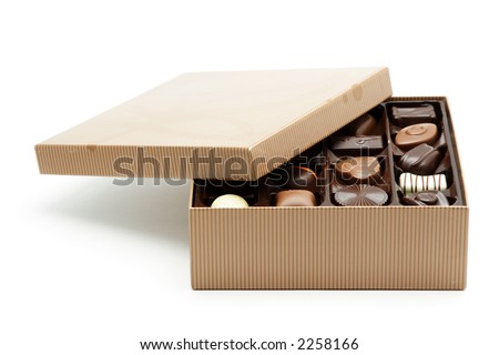 A box of chocolates with the lid opened