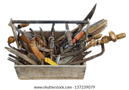 a box of old tools for woodworking
