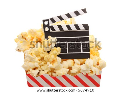 A box of popcorn and a movie slate