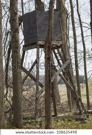 A Box Type Deer Tower Tree Stand For Hunting In The Middle
