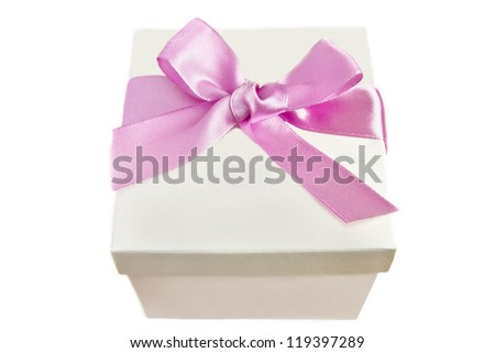 a box with a pink ribbon on a white background