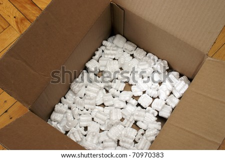 A box with some shipping peanuts for protection against damage on any merchandise.