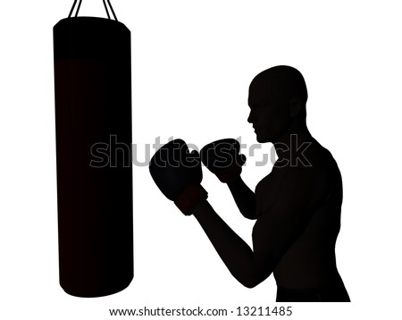 A boxer exercising, ready to punch a punching bag
