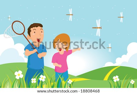 A boy and a girl in country side catch dragonfly (vector version in my portfolio already)