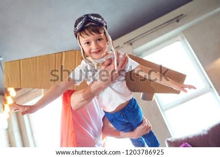 A boy dressed as a superhero. #1203786925