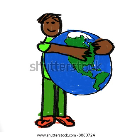 A boy holding the globe - a childlike drawing