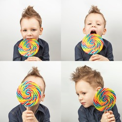 A boy in a denim shirt eating lollipop. Happy kid with a big candy on white background. Collage from four photos