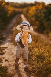 a boy in a field of sunflowers eats wheat bread