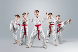 A boy in a kimono in different karate poses on a light background. The concept of karate lesson, a circle for the child, sports education, character