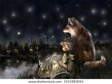 A boy is looking into starry sky with a fox (his imaginary friend) Photo stock ©
