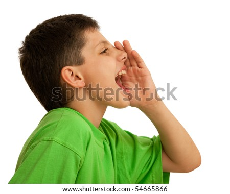 A boy is shouting; isolated on the white background