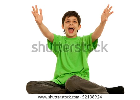 A boy is stretching his hands forward; isolated on the white background
