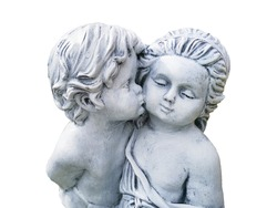 A boy kiss a girl statue on white background