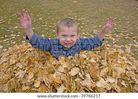 A boy piled in the fall leaves laughing and having fun playing.