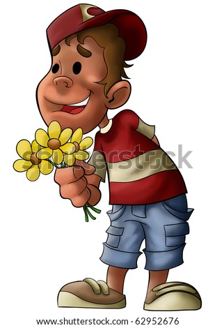 a boy with some flowers in his hands waiting some one