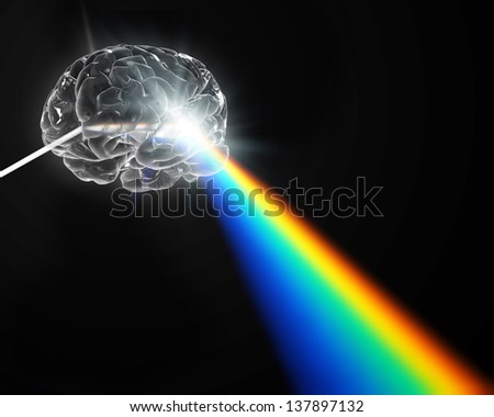 A brain shaped prism dispersing white light - creativity concept