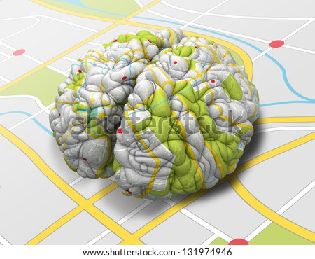 A brain wrapped with a simple road map texture laying on a flap road map