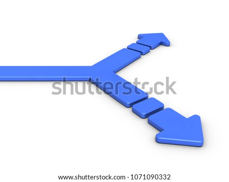 A branch point divided into two. That arrow is an abstract represents choices. 3D illustration,
