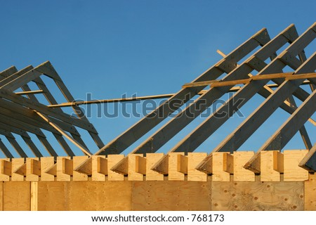 A brand new house in the process of being built