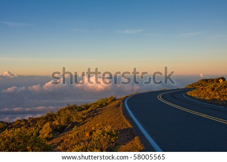A breathtaking view of the sky at sunrise on the road to the top of the Haleakala Volcano. Maui, Hawaii.