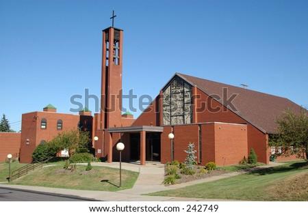A brick church.