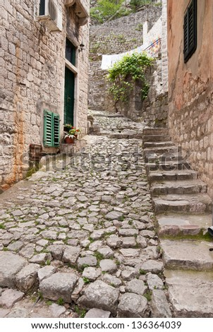 A brick street in old town of Kotor, Montenegro