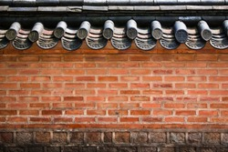 A brick wall of a Korean historical palace with high contrast