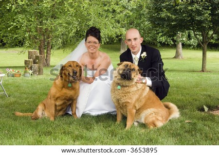 A bride and groom pose with their pet dogs following an outdoor wedding