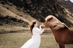 A bride in a white dress strokes a horse's nose. Hair and mane develop in the wind. Destination Iceland wedding photo session with Icelandic horses