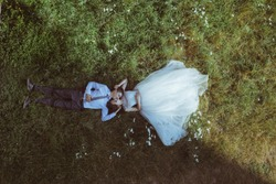 A bride preparing to be married, drone