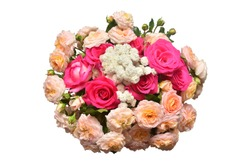 A bride's bouquet of beautiful roses and yarrow isolated on white background. Flowers. Spring. Flat lay, top view. Love. Valentine's Day. Easter. Wedding card. Object