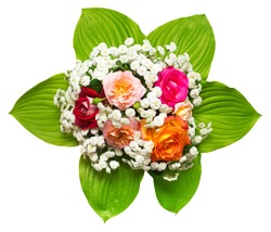 A bride's bouquet of beautiful roses and yarrow with hosta isolated on white background. Flowers. Spring. Flat lay, top view. Love. Valentine's Day. Easter. Wedding card. Object