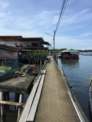 A bridge in a fishing village  In a village without land  Chanthaburi Province, Thailand