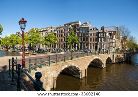 A bridge over one of the many canals in Amsterdam.