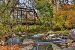 A Bridge over Patapsco River in Columbia Neighborhood during the Fall Season, Maryland