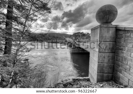 A Bridge Over the Connecticut River in Black and White