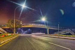 A bridge over the main road in the night, the empty streets of Gaborone during the covid outbreak lockdown,