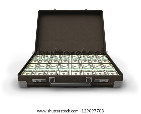 A briefcase full of money,  isolated on white ,3d render