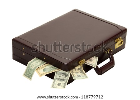 A briefcase overflows with expenses, wages, taxes or profits isolated on white
