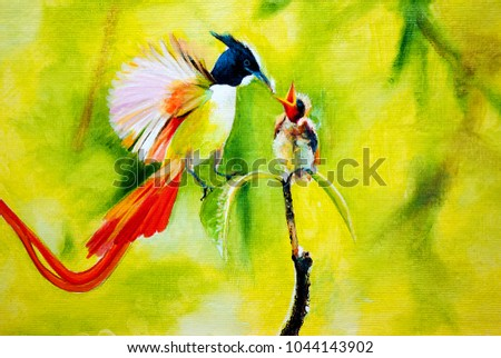 A bright bird with a tail feeds a chick on a branch. Oil painting