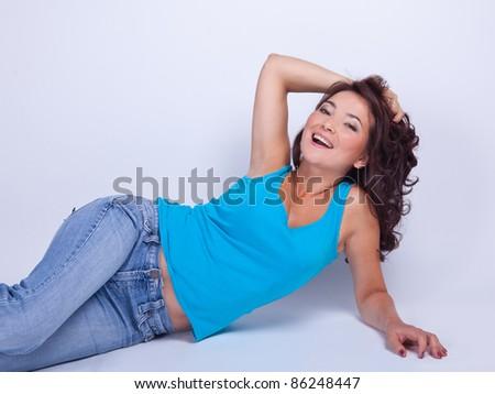 A bright blue T-shirt girl