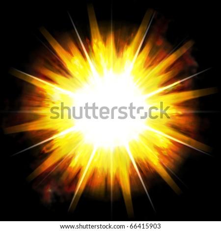 A bright exploding burst over a black background.
