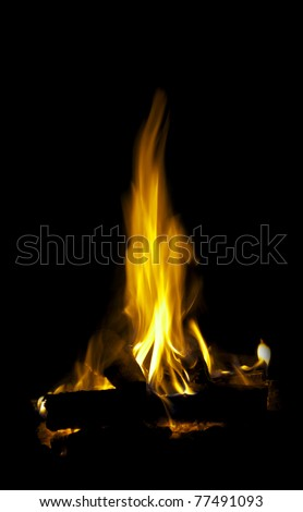A bright flame with a reflection on a black background