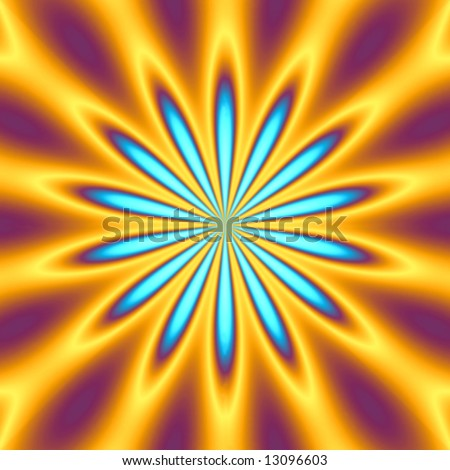A bright orange and blue star burst illustration - very retro.