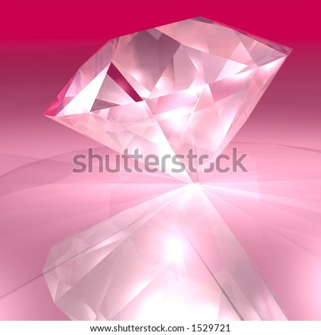 A bright pick diamond sparkling in the light