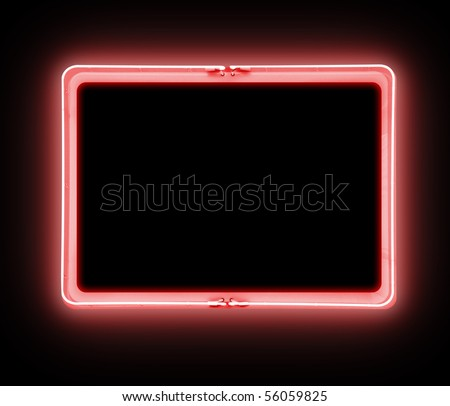 A bright red neon blank sign on a black background is glowing. Use it for a danger, entertainment message or promotion theme. Add your own text message in the frame border.