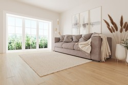 A bright room with a modern minimalist design.  There is a sofa and flowers against the wall, paintings on the wall.  Side panoramic window overlooking the summer park.  3D illustration