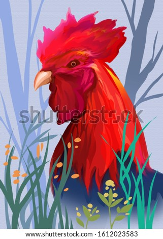 A bright rooster in the grass.digital art style, illustration painting